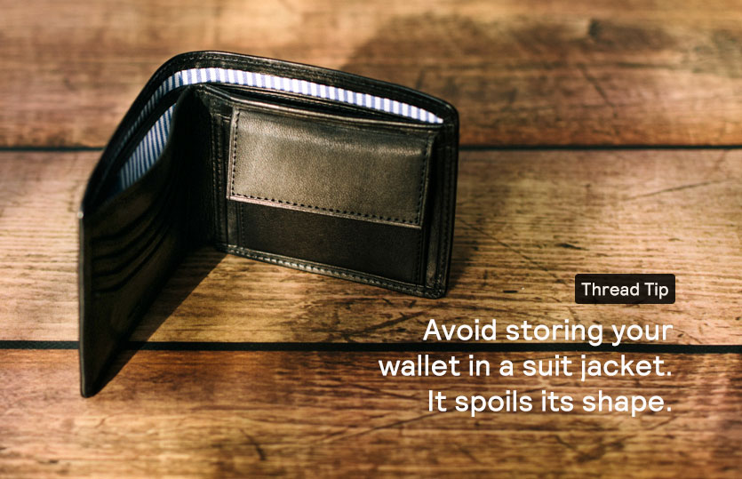 Black leather wallet with contrast lining