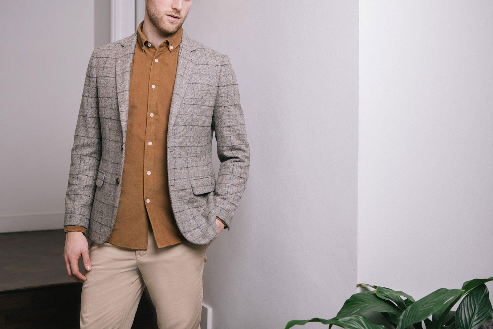 Patterned blazer and cord shirt