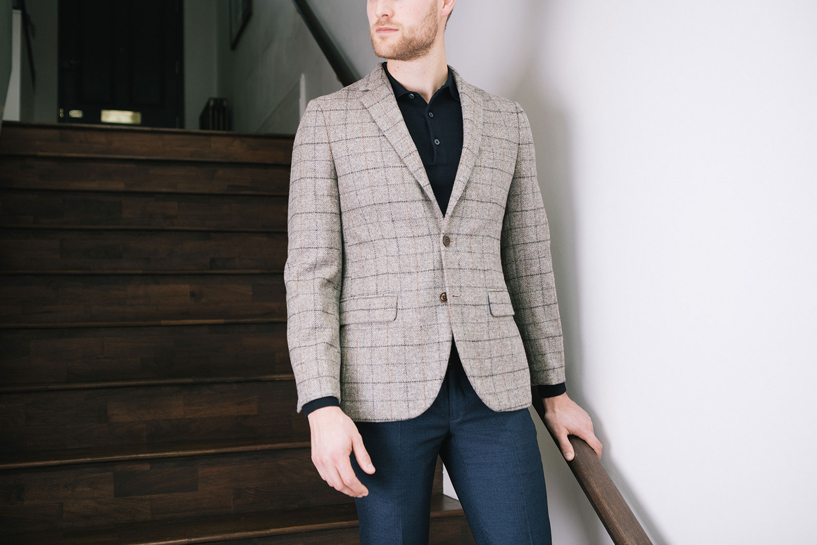 Patterned blazer and polo shirt