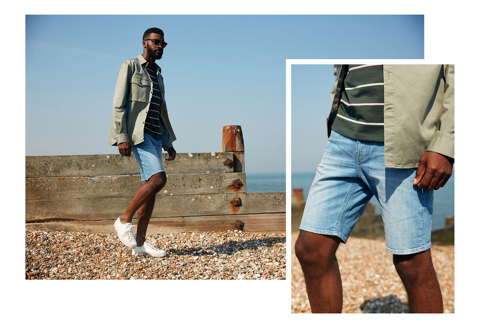 f3cc0e441e Photographed: Lee Rider Kick It denim shorts (£55); French Connection  military jacket (£70); A.P.C khaki 'Jimmy' tee (£85); River Island  sunglasses (£14); ...