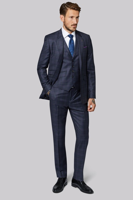 6acdf84af Tailored Fit Navy   Blue Check Suit by Mo... — Thread