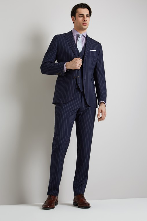 c096ba9e9fe Lanificio F.lli Cerruti Dal 1881 Cloth Tailored Fit Navy Stripe iTravel  Jacket
