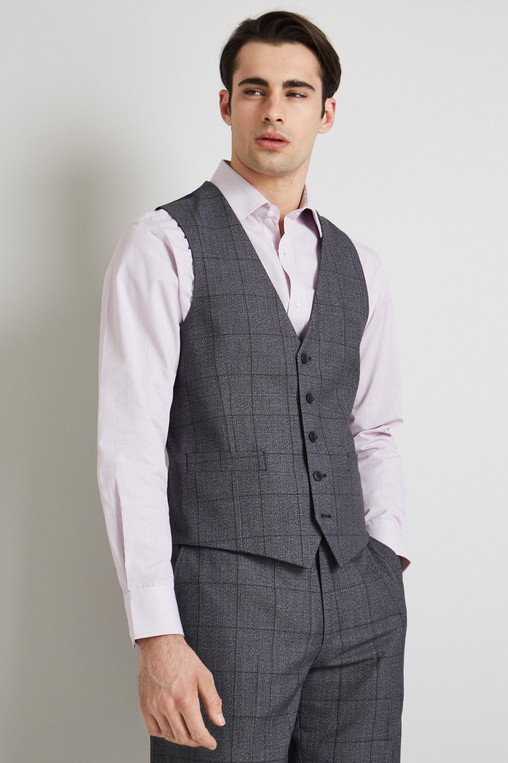 41750a252ba Moss Esq. Regular Fit Pale Blue Prince of Wales Check Waistcoat