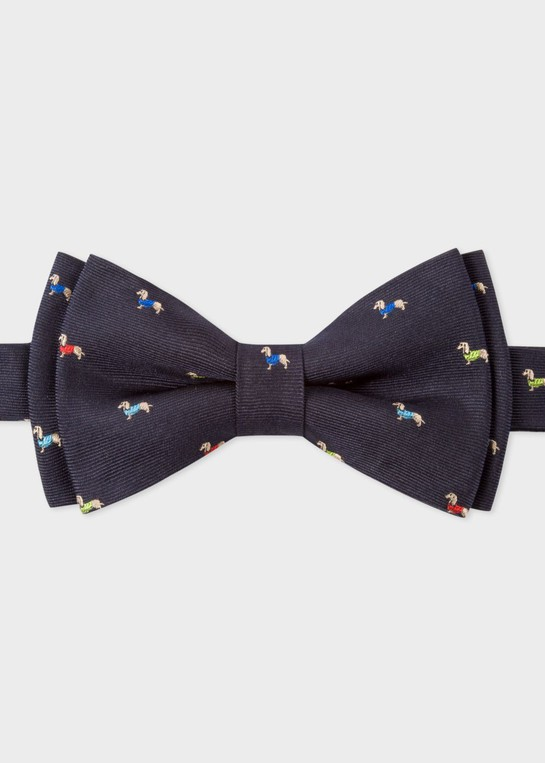 7c23f71863a9 Men's Navy Silk Bow Tie With Embroidered ... — Thread