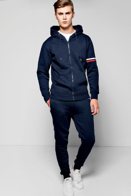 c3f79b7be Stripe Detail Hooded Tracksuit by boohooMAN — Thread