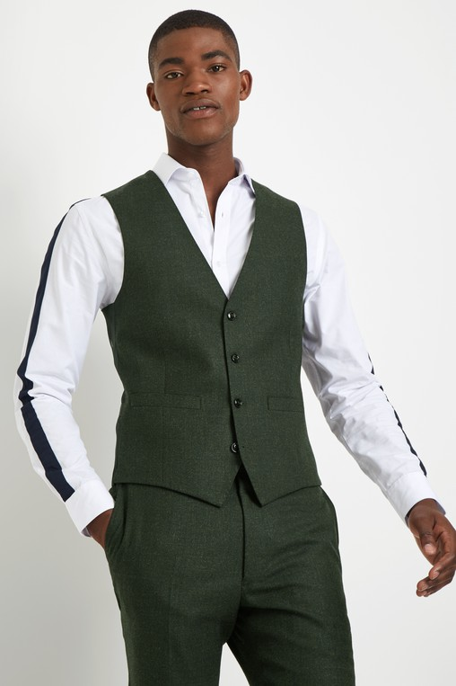 76965a74903 Slim Fit Olive Flannel Waistcoat by Frenc... — Thread