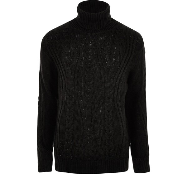 Mens Black chunky cable knit roll neck jumper by River Island