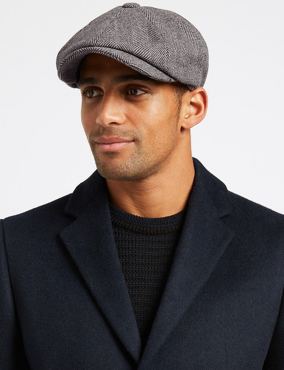 27553630 Wool Blend Baker Boy Hat with Cashmere by... — Thread
