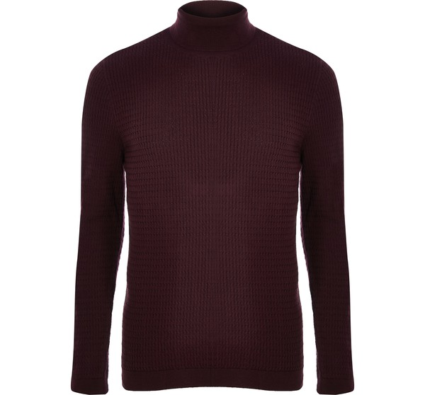 9ab297dc5 Mens Red knit slim fit roll neck jumper b... — Thread