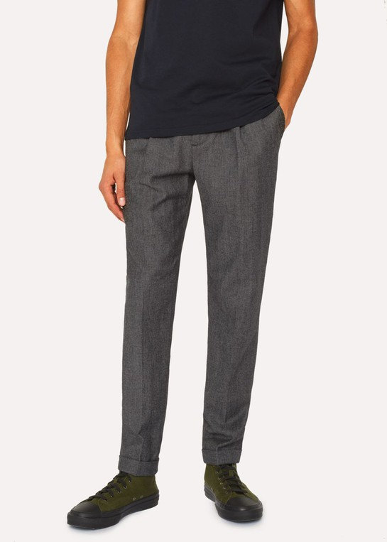 2110a9025a Men's Dark Grey Marl Pleated Wool And Cotton-Blend Trousers by Paul Smith
