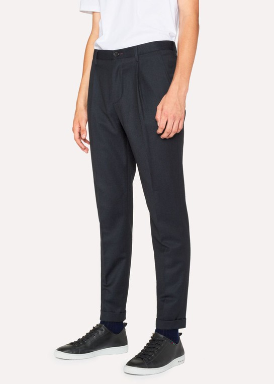 Men S Dark Navy Pleated Wool And Cotton Blend Trousers By Paul Smith Thread Com