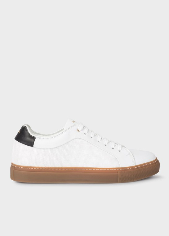 Men's White Leather 'Basso' Trainers