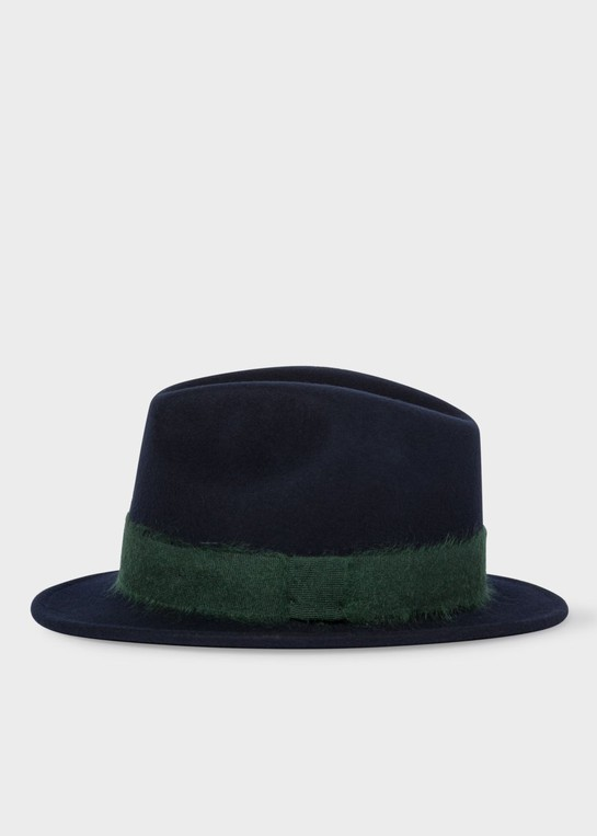 d57c0b30 Men's Navy Mohair-Band Wool Trilby Hat by... — Thread