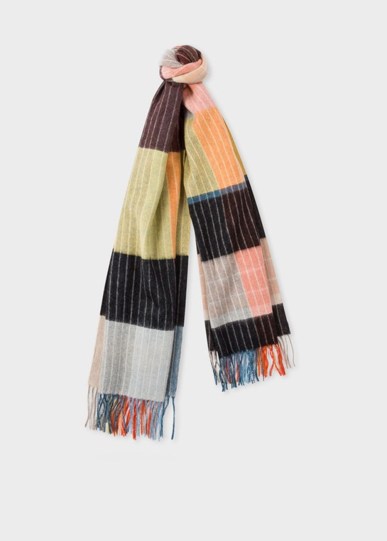 5afd0a0be5f8 Anni Albers x Paul Smith - Multi-Coloured Geometric Stripe Lambswool Scarf