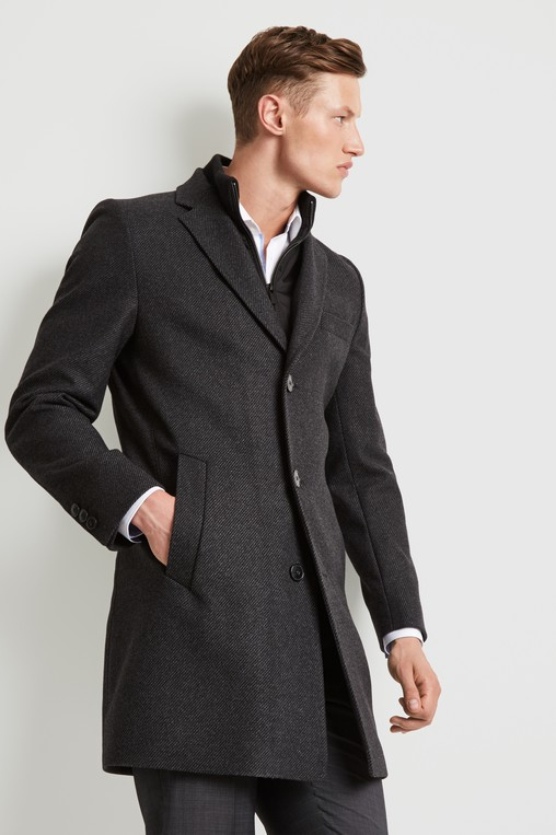 6ff2a45c3 HUGO by Hugo Boss Tailored Fit Charcoal Detch Insert Coat