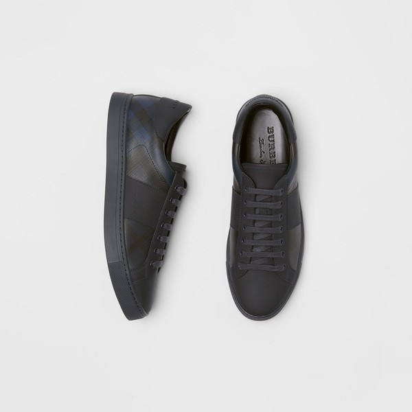 London Check and Leather Sneakers by