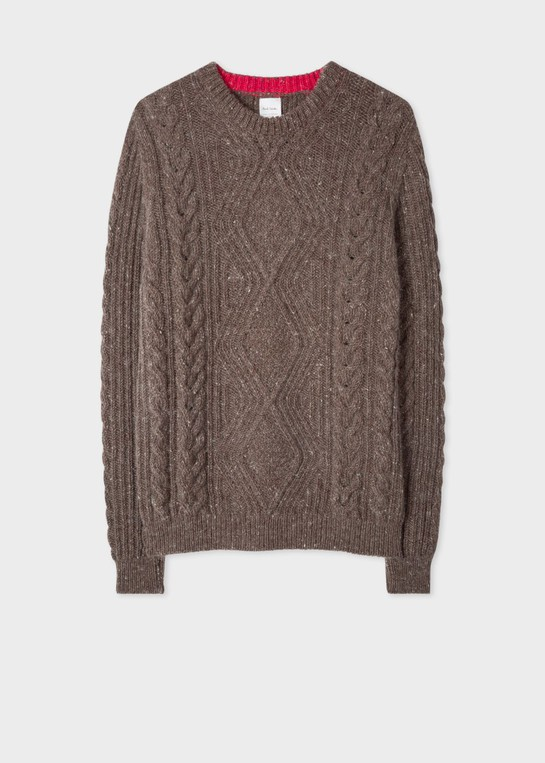 5231484e0c8d5a Men's Brown Wool-Mohair Donegal Cable-Kni... — Thread