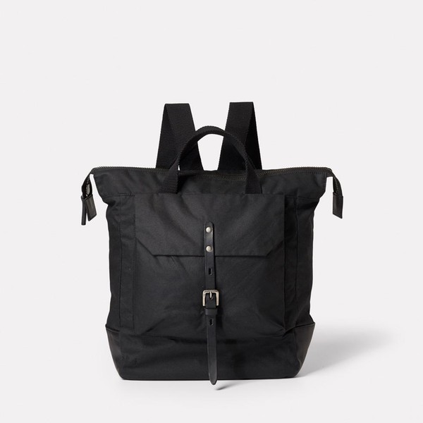 4122db284 Frances Waxed Cotton Rucksack in Black by... — Thread