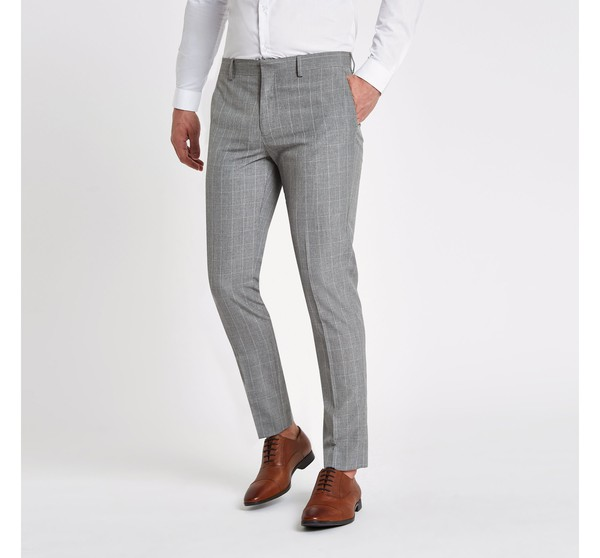 Irradiare Allombra scanalatura  Mens Grey check skinny fit suit trousers by River Island — Thread