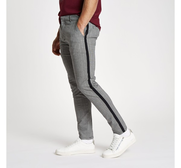 93cf839829 Mens River Island Grey check skinny fit tape chino trousers by River Island