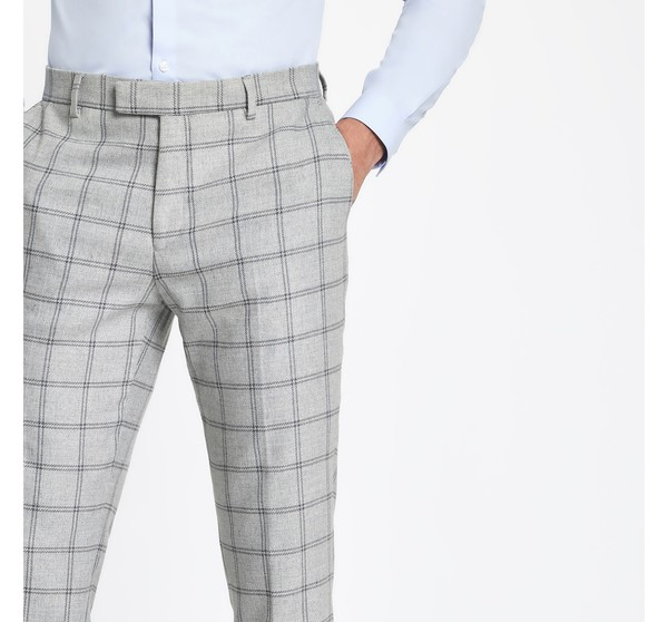 e104d638 Mens Grey check stretch skinny fit suit t... — Thread