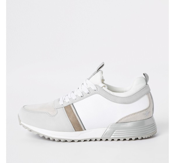 Mens White contrast 'MCMLXXVI' lace-up