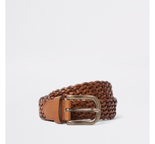 Mens River Island Tan woven leather gold tone buckle belt by River Island