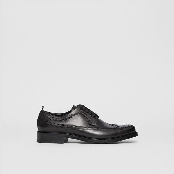 Brogue Detail Leather Derby Shoes by