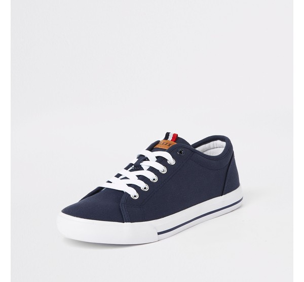 Mens River Island Navy canvas lace-up