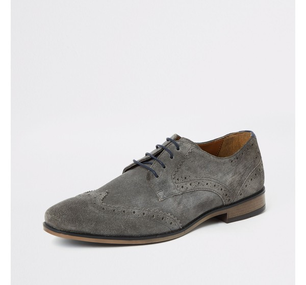 Mens River Island Grey suede lace-up
