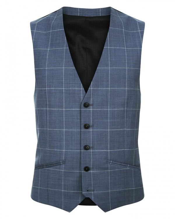 Large Windowpane Suit Waistcoat By Austin Reed Thread