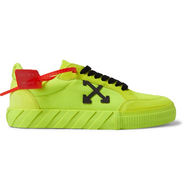 Neon Canvas And Suede Sneakers by OFF