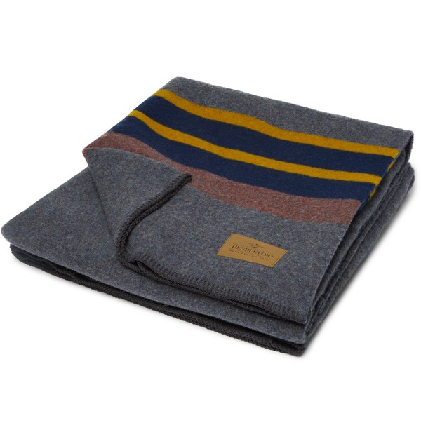 Yakima Leather Trimmed Striped Virgin Wool And Cotton Blend Camping Blanket By Pendleton Thread