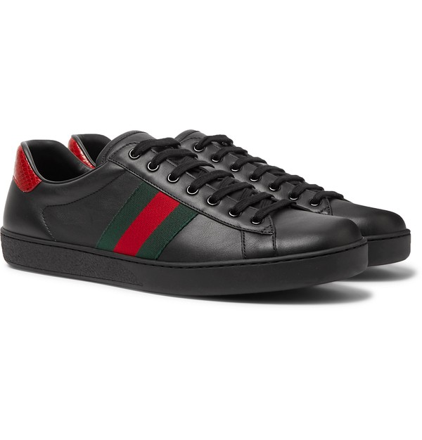 Ace Crocodile-Trimmed Leather Sneakers