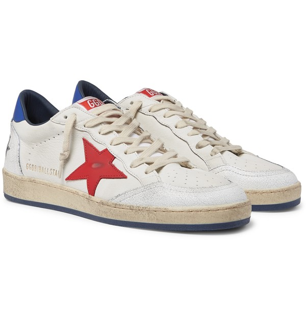 Ball Star Distressed Leather Sneakers