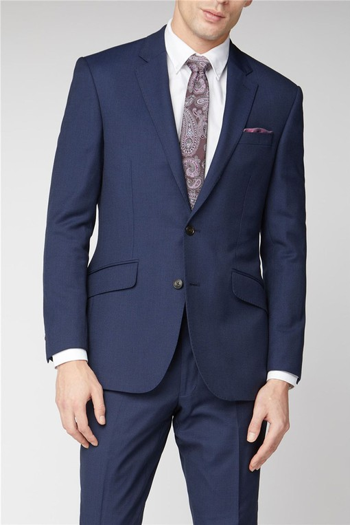 Navy Birdseye Textured Suit By Austin Reed Thread