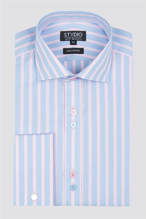 """M/&S COLLECTION PURE COTTON MEN/'S SHIRT CLASSIC COLLAR TAILORED MID BLUE 15.5/"""""""