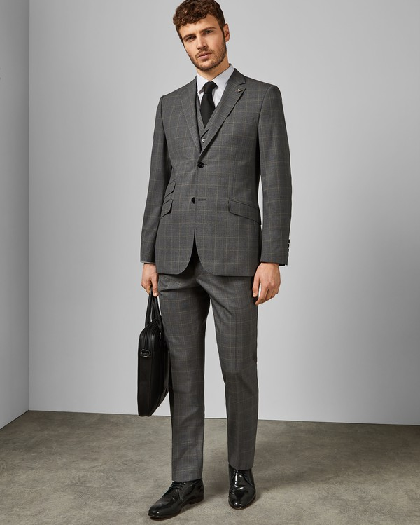 Betret Sterling Check Wool Suit Trousers By Ted Baker Thread Com