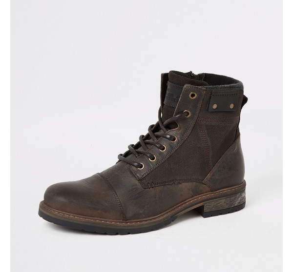 Mens River Island Brown leather lace-up