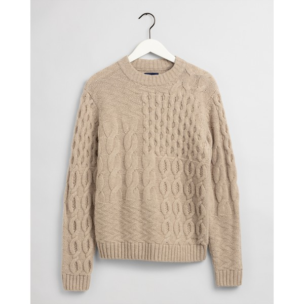 Patchwork Cable Crew Neck Jumper by GANT