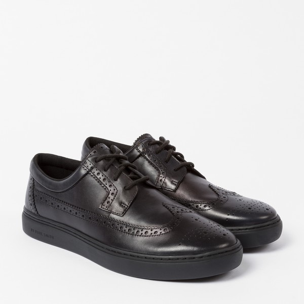 Black Leather 'Rupert' Brogue Trainers
