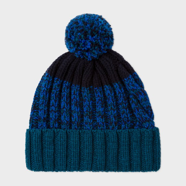 1095b7f9acf Men s Navy Lambswool Twisted-Yarn Cable Knit Bobble Hat