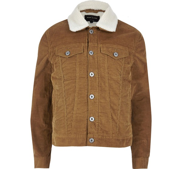 a4fba1097 River Island Mens Brown borg lined corduroy jacket by River Island