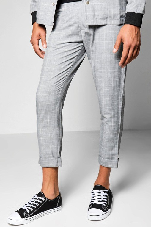 1803c0e954111 Grey Check Skinny Fit Cropped Trousers by... — Thread