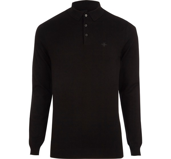 86aa61a8 Mens Black slim fit long sleeve knitted p... — Thread