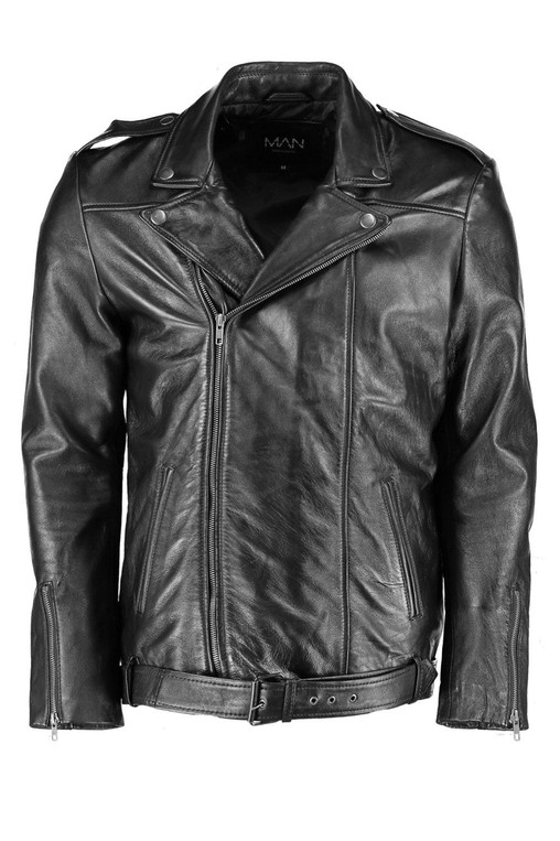 882d7c302 Black Real Leather Biker Jacket by boohooMAN