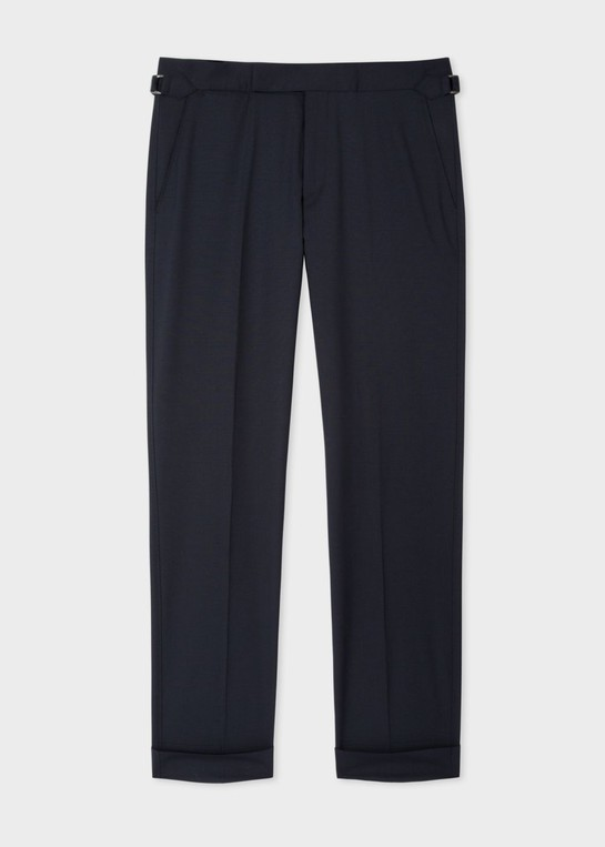 7064c354c9 Men's Slim-Fit Navy Wool Trousers With Side-Adjusters by Paul Smith
