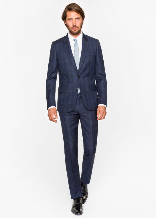 The Soho - Men's Tailored-Fit Navy Check Wool Suit by Paul Smith — Thread