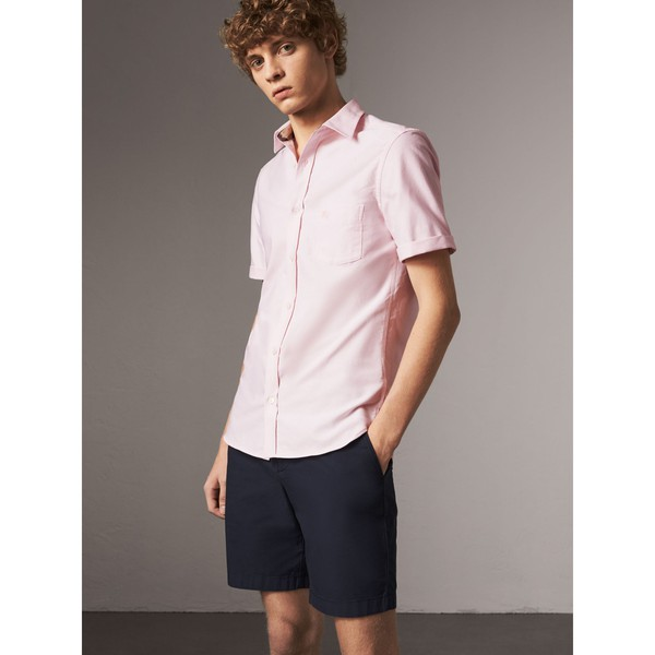 e516eae9d7 Check Detail Short-Sleeved Cotton Oxford Shirt by Burberry