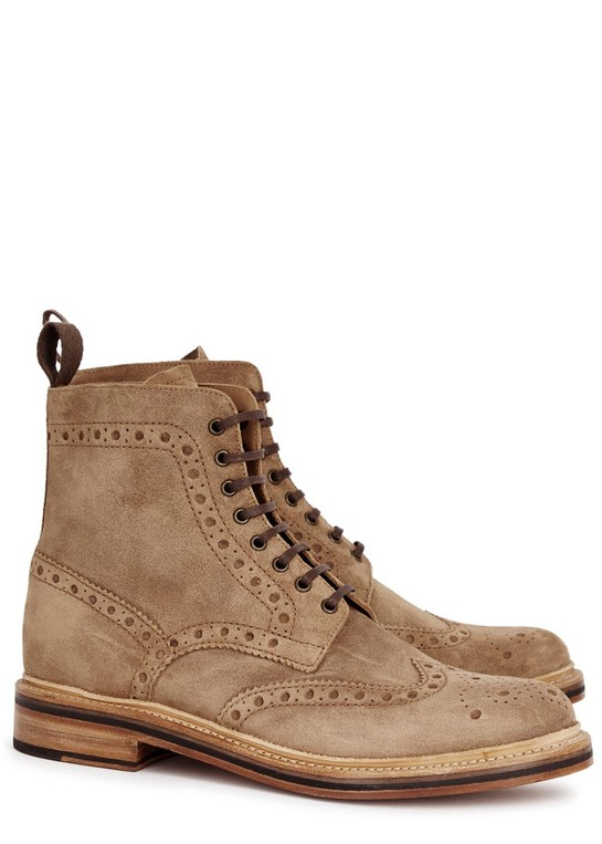 Fred sand suede brogue boots by Grenson